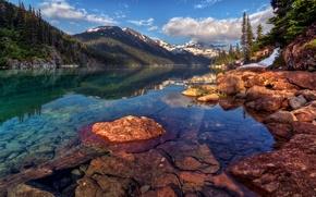 Картинка отражение, горы, склон, вода, канада, скалы, гарибальди, облака, лес, пейзаж, снег, елки, деревья, озеро, небо, ...