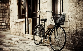 Картинка велосипед, город, фото, стена, сепия, Европа