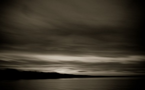 Картинка river, sky, grey, clouds, evening, scenery, horizon, Bay