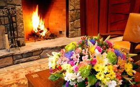 Обои макро, цветы, дизайн, интерьер, букет, камин