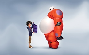 Обои Action, Boy, T.J. Miller, Big Hero 6, Violet, Tomago, Rubber, Fredzilla, Orange, White, Film, Family, ...