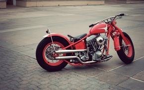 Картинка red, vintage, motorcycle, bobber