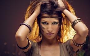 Картинка взгляд, украшения, стиль, girl, шатенка, воительница, style, боке, индианка, wallpaper., beautiful background, амуниция снаряжение, красивая ...
