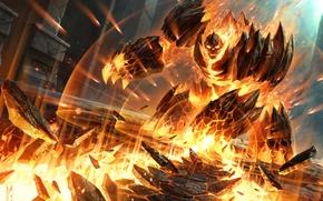 Обои Hearthstone, арт, существо, Demonwrath, WoW, World of Warcraft, Демонический гнев, элементаль, Blackrock Mountain, карта, огонь