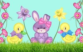 Обои рисунок, цветочки, зайчик, утята, бантик, нарцисс, детская, вьюнок, для маленьких
