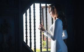 Картинка девушка, белое, платье, азиатка