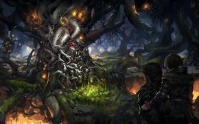 Картинка лес, дерево, путешественники, древо