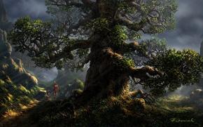 Картинка трава, цветы, природа, дерево, холмы, женщина, ребенок, арт, прогулка, солнечные лучи, Fel-X