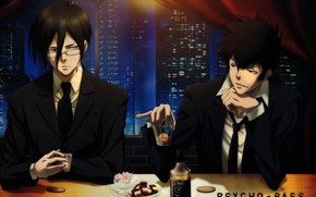 Картинка ночь, небоскребы, бар, очки, галстук, выпивка, два парня, черный костюм, Ginoza Nobuchika, Psycho-pass, Shinya Kougami