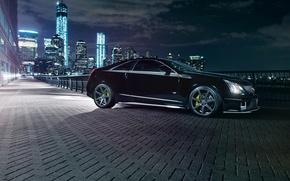 Картинка ночь, город, огни, чёрный, Cadillac, black, CTS-V, кадилак
