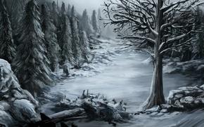 Картинка холод, зима, лес, снег, природа, камни, дерево, арт