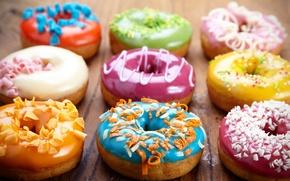Картинка пончики, выпечка, сладкое, глазурь, donuts