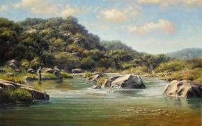 Картинка пейзаж, озеро, картина, рыбак, Kyle Polzin
