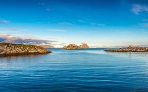 Обои море, остров, маяк, небо, скалы, облака