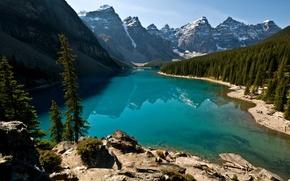 Картинка Деревья, Лес, Вода, Горы, Камни, Природа, Снег