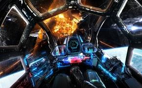 Картинка космический корабль, кабина, арт, dog fight, битва, Sci-fi, бой, фантастика, космос, spaceship