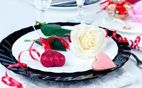 Картинка цветок, роза, сердца, бокалы, тарелки, серпантин, салфетка, сервировка