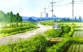 Картинка дорога, небо, трава, ручей, столбы, провода, Япония, пирамида, мостик, Neon Genesis Evangelion, рисовые поля, Hirochi …