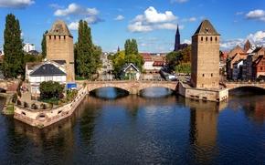 Картинка небо, мост, река, Франция, дома, канал, Страсбург