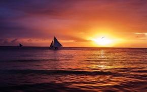 Картинка море, волны, небо, солнце, пейзаж, закат, тучи, природа, настроение, парусник, чайка, штиль