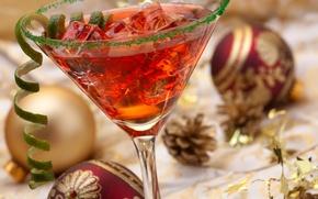 Картинка лед, украшения, праздник, шары, коктейль, Новый год, ice, напиток, Happy New Year, balls, Merry Christmas, …