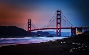 Картинка City, Nature, Sky, Bridge, Water, Sunset, San Francisco, Golden, Sand, Ocean, Scenic, Gate, Baker