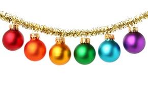 Картинка шарики, праздник, обои, рождество, гирлянда