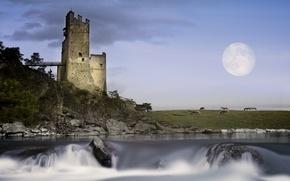 Картинка пейзаж, замок, луна, Tyrolian Highlands