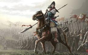 Картинка флаги, оружие, конь, арт, доспехи, девушка, фантастика, воины
