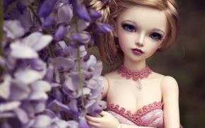 Картинка взгляд, цветы, игрушка, кукла
