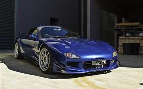 Картинка car, синий, Мазда, Mazda, бампер, blue, jdm, rx7, обвес, синяя машина, justin sung, канарды