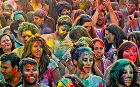 Картинка радость, люди, праздник, краски, лица, HoliMadrid