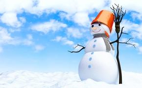 Обои merry christmas , new year, snowman, snow, broom