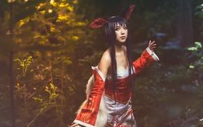 Картинка девушка, природа, стиль, одежда, азиатка