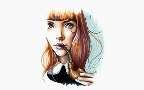 Картинка девушка, рисунок, трубка, арт