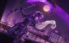 Картинка ночь, луна, полнолуние, League of Legends, Diana, Scorn of the Moon, девушка город