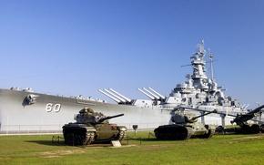 Обои газон, музей, танки, линкор, uss alabama