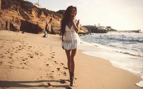 Картинка песок, пляж, девушка, Mabelynn