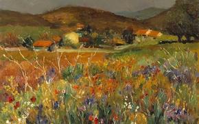 Обои деревья, пейзаж, горы, дома, картина, луг, Марсель Диф, Поле цветов в Провансе