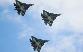 Картинка небо, самолет, истребитель, Многоцелевой, пятого поколения, сверхзвуковой, Владислав Перминов, ПАК-ФА Т-50