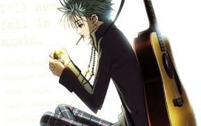 Картинка гитара, пирсинг, белый фон, art, ai yazawa, нана, nana, Shinichi Okazaki