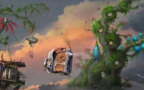 Обои облака, деревья, фантастика, транспорт, станция, арт, в небе, Vijoi Daniel Iulian