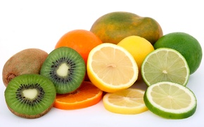 Картинка лимон, апельсин, киви, лайм, фрукты, манго