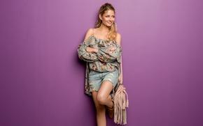 Картинка девушка, лицо, улыбка, стиль, волосы, сумка, ножки, милашка, Isabel