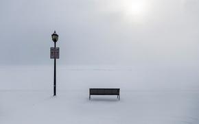 Картинка зима, мороз, фонарь, сугробы, скамья, запрет