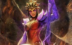 Картинка девушка, магия, арт, посох, Diablo III, wizard, Reaper of Souls