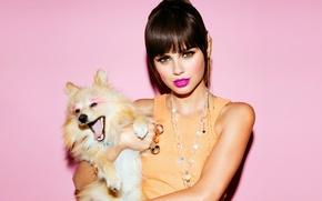 Картинка взгляд, фон, модель, собака, макияж, губы, Xenia Deli