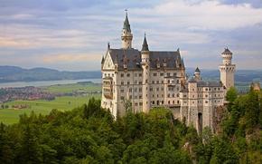 Картинка деревья, замок, Германия, долина, Бавария, панорама, Germany, Bavaria, Neuschwanstein Castle, Замок Нойшванштайн