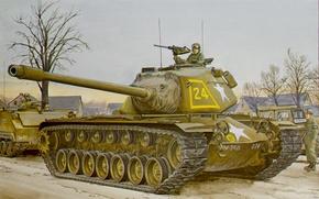 Картинка war, art, painting, tank, M103 heavy tank