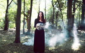 Картинка девушка, дым, череп, Smoke and Bone